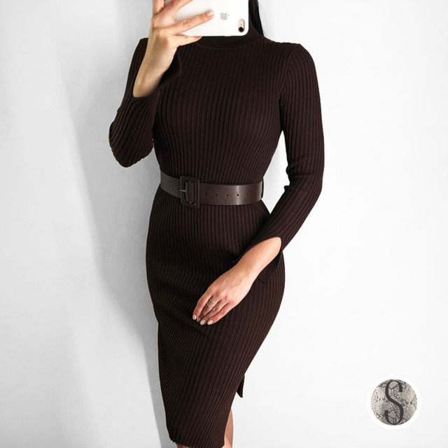 ec2cd919f667 2018 Autumn Winter Knitted Turtleneck Sweater Dress Korean Fashion Women  Long Sleeve Slim Midi Dress Sexy