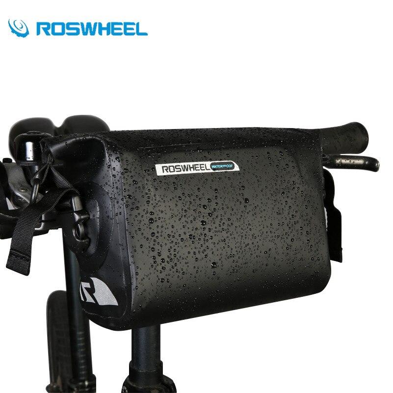 ROSWHEEL Vélo Panier Sacoche de guidon De Vélo Vélo Pack Étanche Avant Top Pouch PVC Tube Bg Roll Top Panier Sac Pour vélo