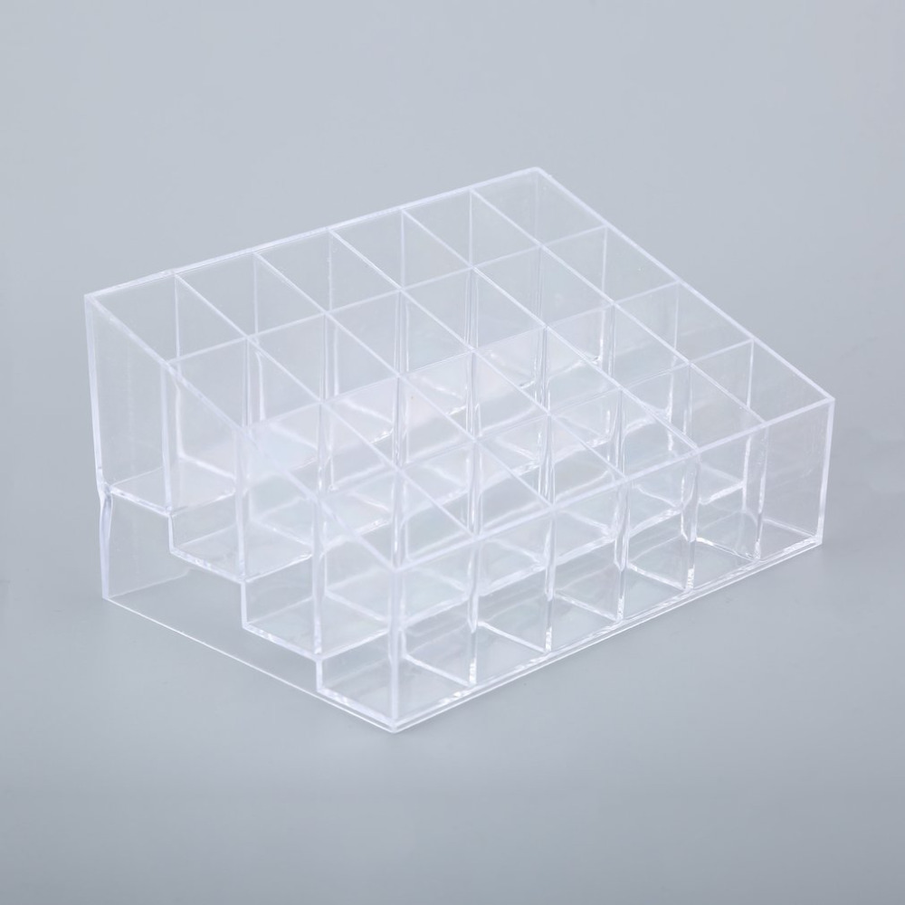 1pcs 24 Trapezoid Clear Makeup Cosmetic Organizer Storage Lipstick Holder Case Stand Drop Shipping Wholesale New