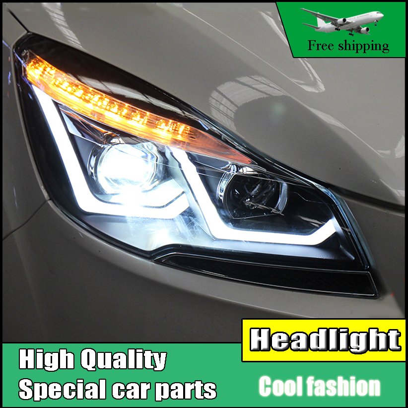 Car Styling Head Lamp For Ford Escape 2013-2015 Kuga Headlights Double U Angel Eye DRL Lens Double Beam HID Xenon bi xenon lens