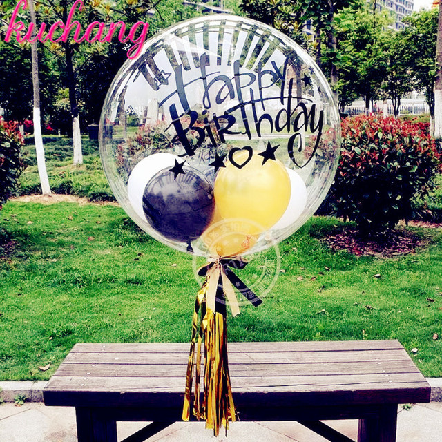 18inch PVC transparent helium bubble balloon or happy birthday sticker or feather or tassel birthday party wedding decoration