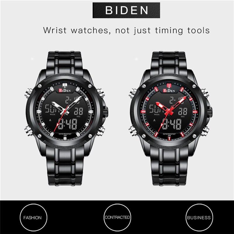 BIDEN TOP marque de luxe hommes montre Sport montres pour hommes numérique Quartz affaires bande en acier étanche horloge Reloj Hombre - 6