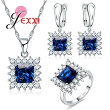 JEXXI Royal Noble Bridal Wedding Jewelry Sets 925 Sterling Silver Princess Cut Square Blue Topaz Crystal for Women Brides Gift