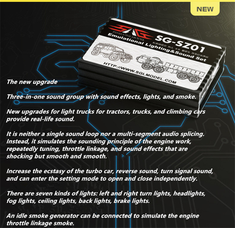 Emulational Lighting Sound Set Car Audio Simulation Sound Group ESS  Component RC Car Sound Horn Engine Simulator Throttle