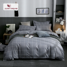 Slowdream Plain Geometry Gray Bedding Set Comfort Bed Flat Sheet Duvet Cover Simple Style Linen Decor Home Textiles