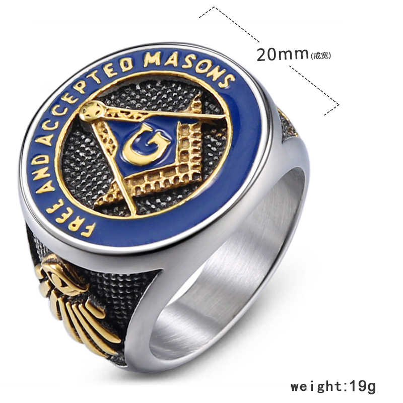 DICAYLUN הבונים החופשיים מייסון חינם טבעות גברים נירוסטה חותם בונה חופשי טבעת כסף כחול הבונים החופשיים פאנק תכשיטי Mens זכר מתנות