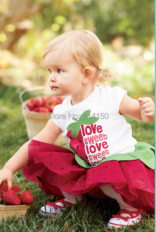 New Baby Girls 3pcs/suits sun hat +top +Tutu skirt Kid Girl s Colthing Baby suits Strawb ...