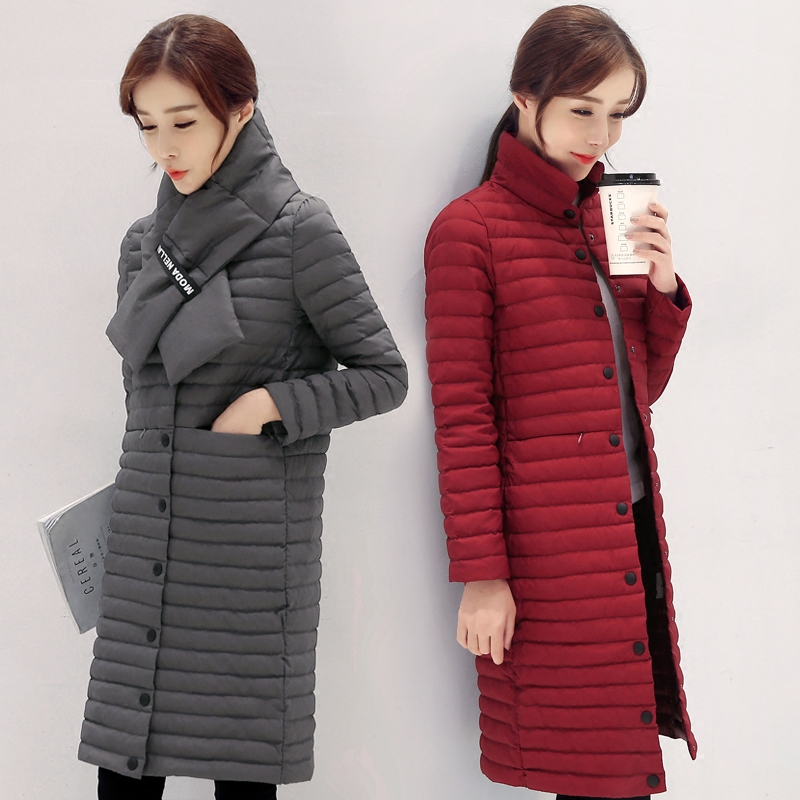 2017 thin stand collar scarf female medium-long   down     coat   over-the-knee slim outerwear