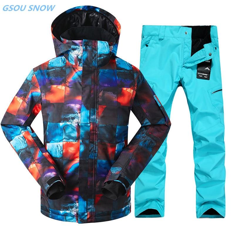 Gsou Snow 10 K combinaison de ski d'hiver pour hommes veste de ski pantalon imperméable snowboard ensembles Ski de plein air sport snowboard costumes