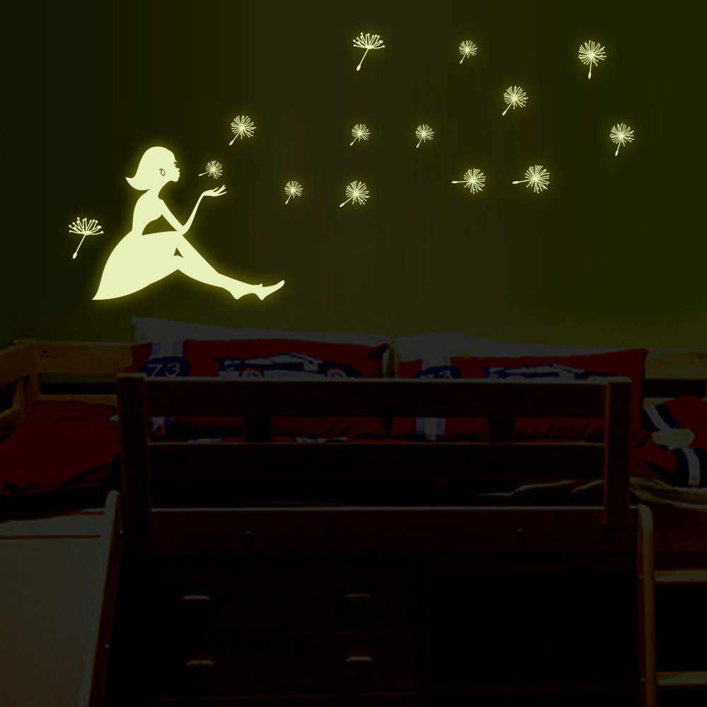 21cm*29.7cm Wall Stickers Dandelion Girl luminous Stickers Living Room Bedroom Decoration PVC Wallpaper Wall Stickers Poster