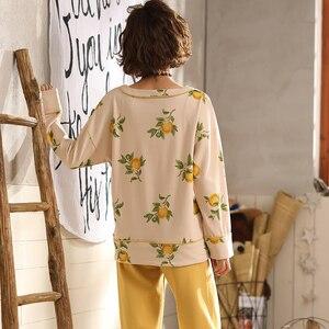 Image 5 - طقم بيجاما نسائي قطني طويل من BZEL قميص نوم نسائي برقبة على شكل حرف v + بنطلون ملابس نوم للسيدات طقم ملابس داخلية مكون من قطعتين