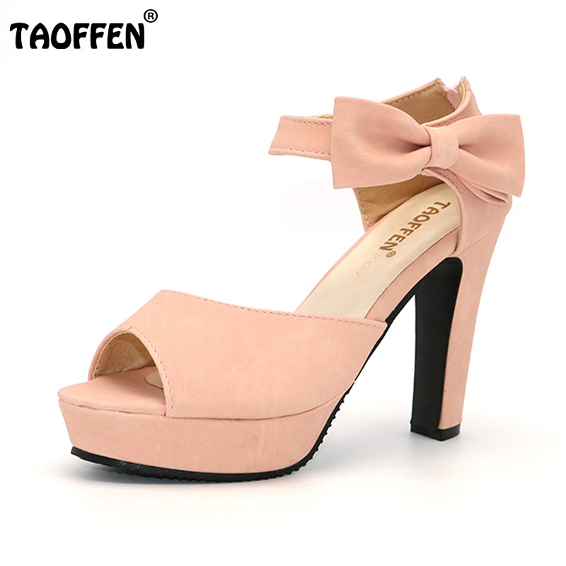TAOFFEN New summer Peep toe Ankle strap orange Sweet Thick high heel Sandals Platform Lady women shoes size 31-43PA00863 xiaying smile summer new woman sandals platform women pumps buckle strap high square heel fashion casual flock lady women shoes