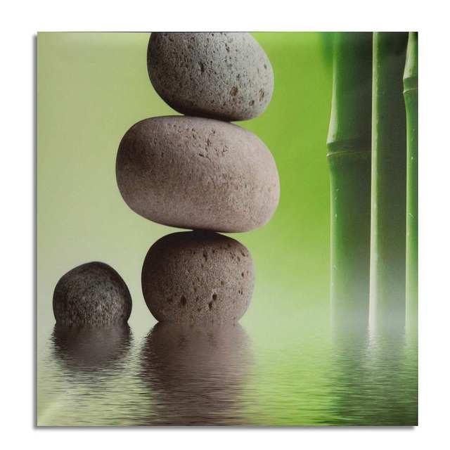 Affiche en pierre de bambou verte HD   Sans cadre, peinture sur toile, décoration murale dart moderne, affiche pour salon, cadre dart mural, 3 pièces