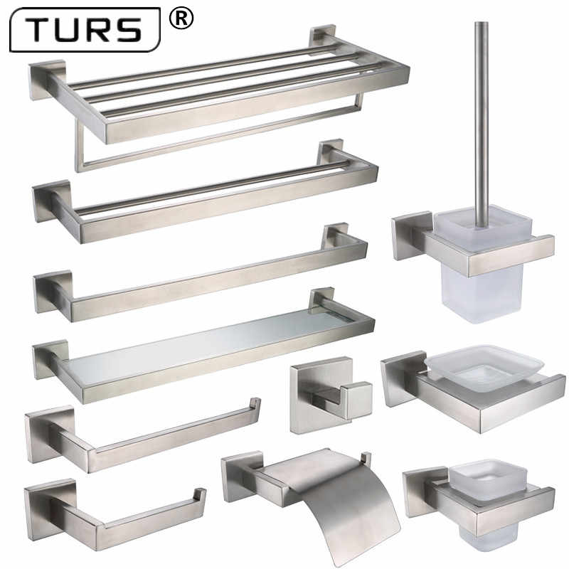 Brushed Finish SUS 304 Stainless Steel Bathroom Hardware Set Paper Holder Toothbrush Holder Towel Bar Bathroom Accessories