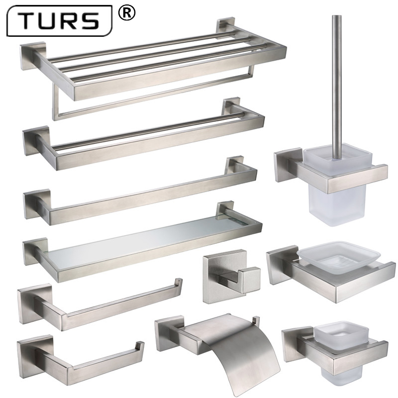 Brushed Finish SUS 304 Stainless Steel Bathroom Hardware Set Paper Holder Toothbrush Holder Towel Bar Bathroom Accessories