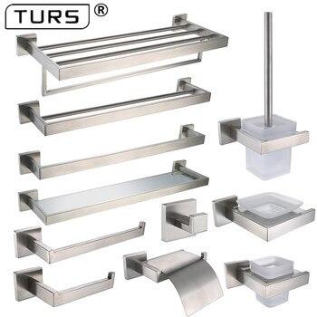Brushed Finish SUS 304 Stainless Steel Bathroom Hardware Set Paper Holder Toothbrush Holder Towel Bar Bathroom Accessories цена 2017