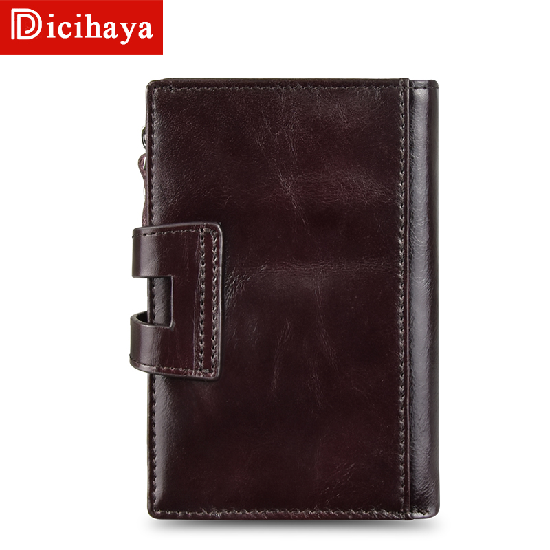 DICIHAYA Cow Leather Men Short Wallet Casual Genuine Leather Male Wallet Purse Standard Card Holders Wallets For Men Coin Bag