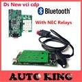 Ds-tcs cdp con NEC Relay Tablero Verde OBD OBD2 OBDII herramienta de Análisis de Diagnóstico nueva herramienta vci CDP Favorable para los coches y caja completa shell
