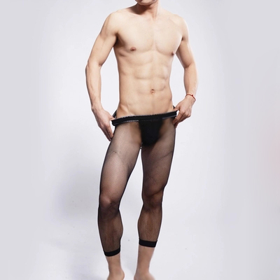 Men s Slim nine Leggings transparent sexy male nine men and nine points  stockings fishnet stockings fishnet a310f8b7c123