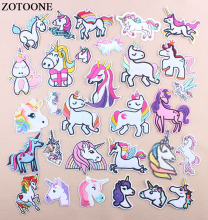 ZOTOONE Embroidery Unicorn Patch Cartoon Iron On Animal Patches For Children Clothes Applique Sequin Iron-on Transfers D