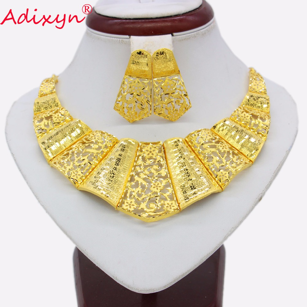 Adixyn Bridal Wedding Necklace Earrings Jewelry Set Gold Color Trendy Jewelry for Women Ethiopian African Party