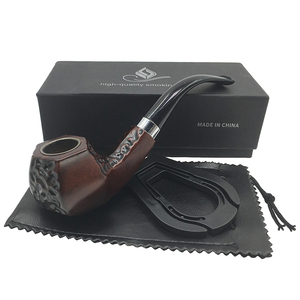 Free Shipping New Brown angular shape enrolled style bakelite pipe smoking pipe tobacco pipe for gift Boxed