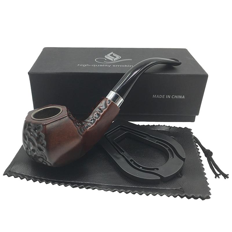 O Envio gratuito de New Brown forma angular estilo matriculados baquelite fumar cachimbo tabaco de cachimbo cachimbo para gift Box