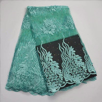Vip Link 5 Yards African Lace Fabric High Quality Embroidered With Stone And Beads Tulle Lace