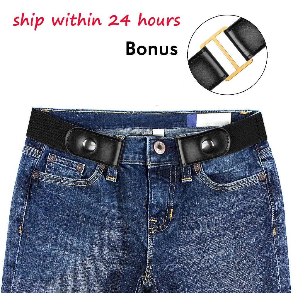 BONJEAN hebilla-hebilla de cinturón de Jean pantalones vestidos no hebilla elástico cintura cinturón para las mujeres/hombres No bulto No problemas cinturón de cintura