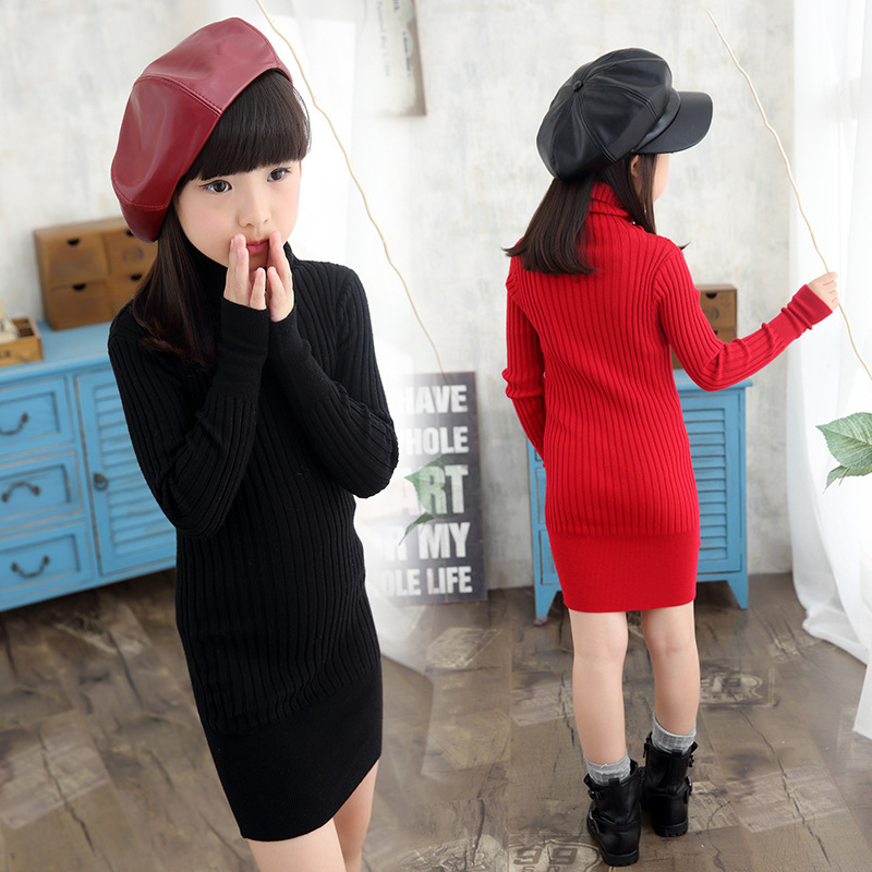 Autumn Winter Large Turtleneck Girls Super Elastic Soft Bag Hip Parent-child Dress Backing Kids Clothing Black Red the explosion of the classic all match solid colored body hip high elastic denim pants feet female winter bag mail