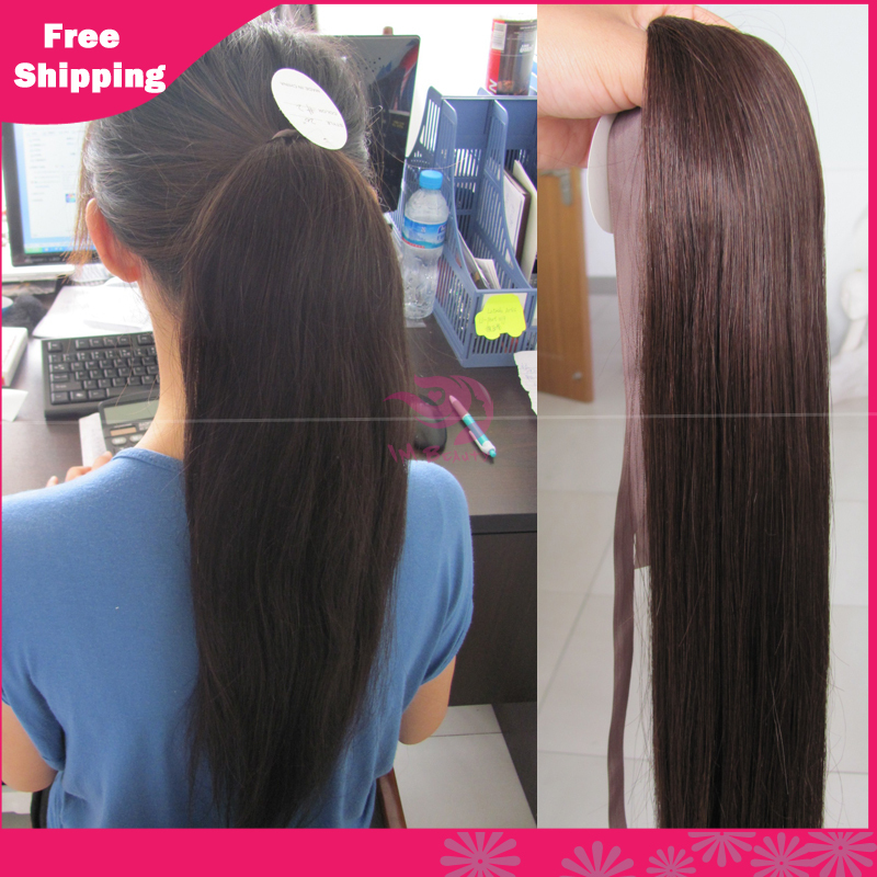 Grade 6a remy human hair ponytails straight hair 100 human hair grade 6a remy human hair ponytails straight hair 100 human hair ponytail clip in hair extensions natural black 60g 100g in ponytails from hair extensions pmusecretfo Image collections
