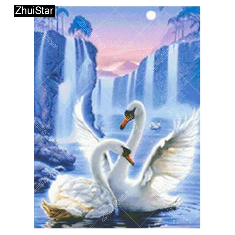 Zhui Star Full Square Drill 5D DIY Diamond Painting Swan Home 3D Embroidery set Cross Stitch Mosaic Decor gift VIP