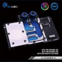 Bykski A-XF48BW-X ، غطاء كامل بطاقة جرافيكس كتلة تبريد المياه RGB/RBW ل XFX R9 RX480 4/8G ، R9 RX470 4G