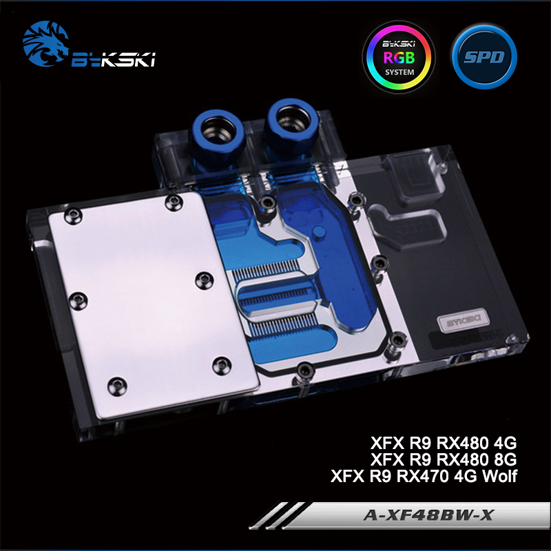 Bykski A-XF48BW-X Full Cover Graphics Card Water Cooling Block RGB/RBW/ARUA for XFX R9 RX480 4/8G, R9 RX470 4G 4pin mgt8012yr w20 graphics card fan vga cooler for xfx gts250 gs 250x ydf5 gts260 video card cooling