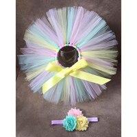 2 Piece Pastel Tutu Skirt Baby Girl Toddler Tulle Skirt Multicolor Rainbow Pettiskirt And Headband Rainbow