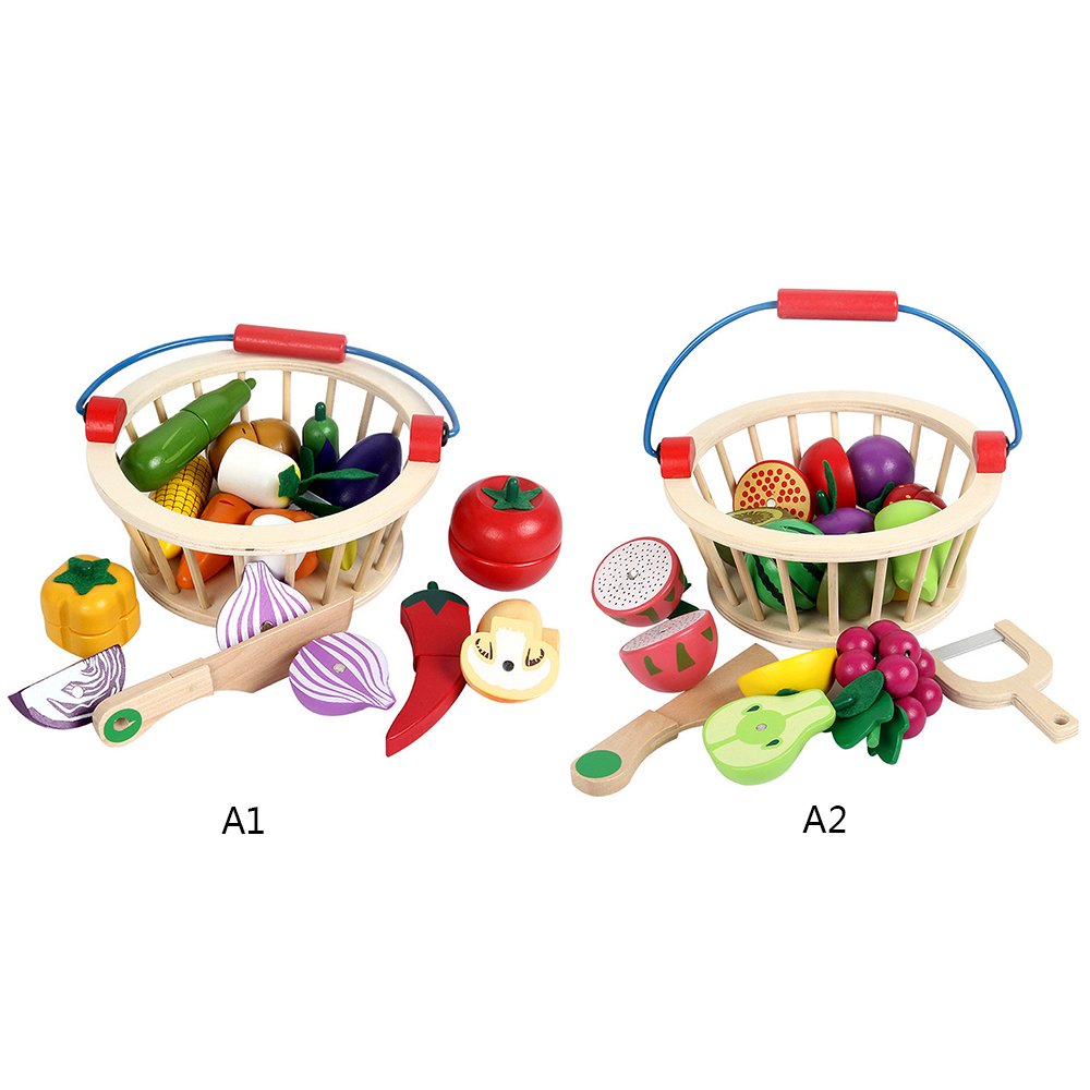 Kitchen Food Toy 12pcs/14pcs Cutting Fruit/Vegetable Wooden Play Food Toy Children Play House Kitchen Toy With Basket Gift