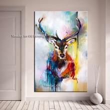 дешево!  Ручная работа Красочное животное Картина Олень слон картина на холсте настенные панно для гостиной