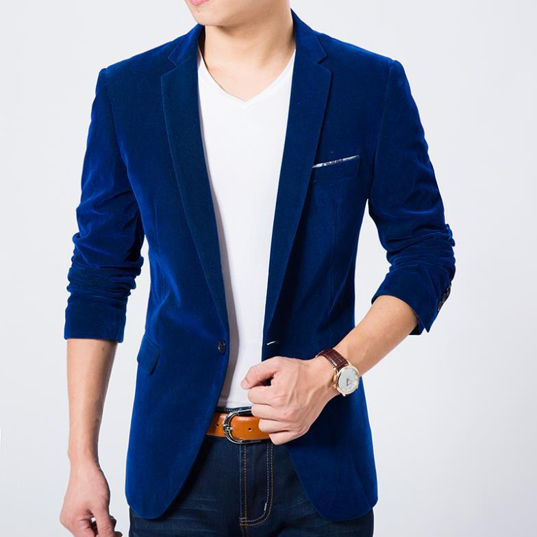 Mens blazer high quality suit jacket korean fashion velvet blue ...