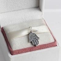 Original 100 925 Sterling Silver Dangle Hamsa Hand Charm Dangle Fits Pandora European Bead Bracelet Necklace