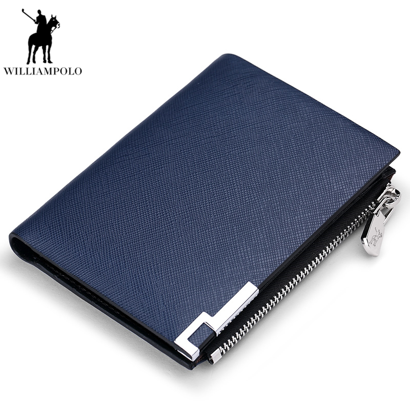 WILLIAMPOLO 2018 Men Business Wallet Genuine Leather High Quality Wallets Short Bifold Purse Slim Wallet PL210 williampolo mens mini wallet black purse card holder genuine leather slim wallet men small purse short bifold cowhide 2 fold bag
