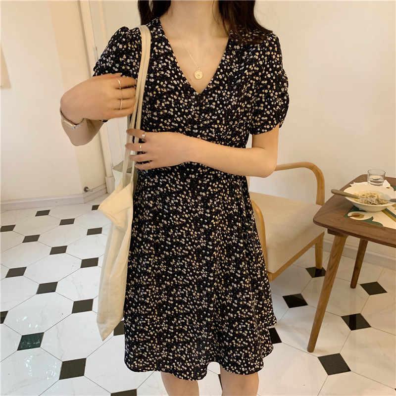 Doce de fadas em França no verão cintura alta cultivar a moralidade mostram fina quebrado belo curta-mangas compridas vestido feminino