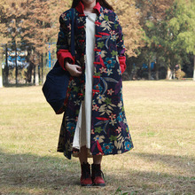 Autumn and winter national cotton padded clothes standing collar long sleeve padded jacket coat windbreaker trench