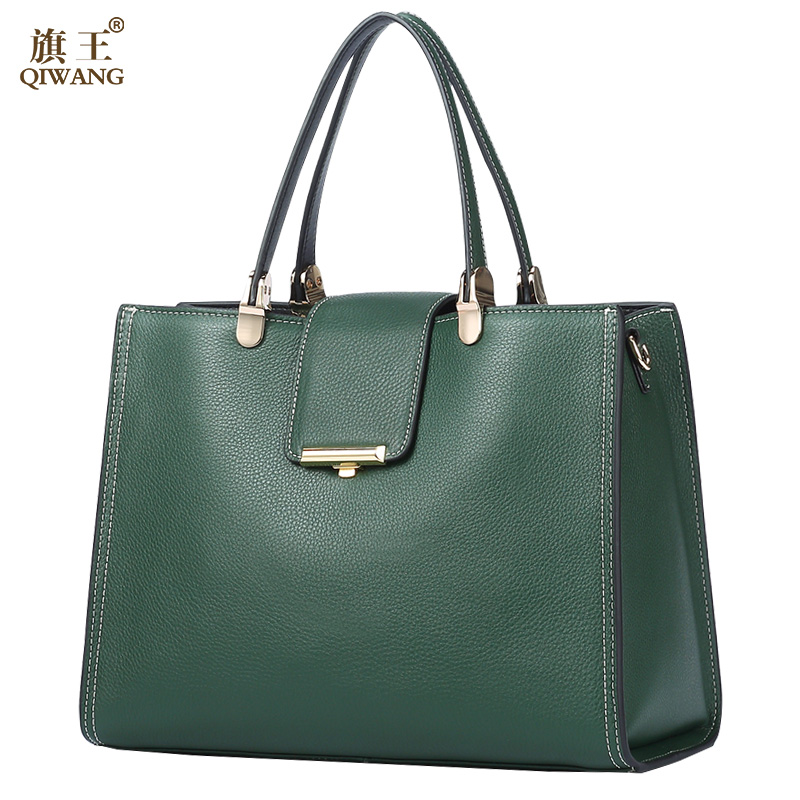 QIWANG Genuine Leather Bag For Women Green Tote Bags Brand Quality Purse And Handbags Large Summer