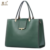 QIWANG Genuine Leather Bag For Women Green Tote Bags Brand Quality Purse And Handbags Large Summer Cow Bags for Women