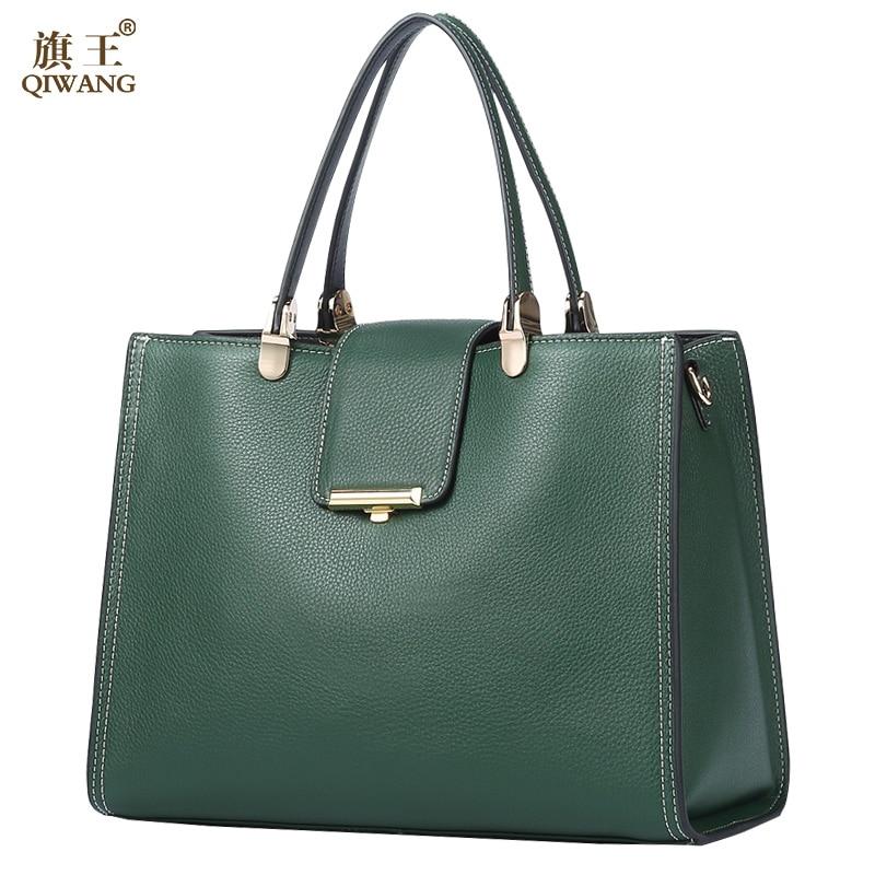 Bagaj ve Çantalar'ten Üstten Saplı Çanta'de QIWANG hakiki deri çanta Kadınlar Için Yeşil Tote Çanta Marka Kaliteli Çanta Ve Çanta Büyük Yaz Inek Çanta Kadınlar için'da  Grup 1