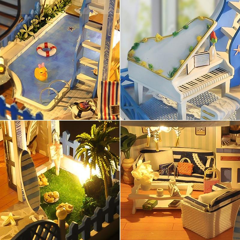 소형에게 해 빌라 인형 집 피아노 수영장 가구 키트 diy 나무 인형 집 led 조명 음악 상자 어린이 생일 선물-에서피규어 & 미니어처부터 홈 & 가든 의  그룹 2