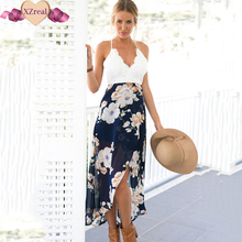 Summer Women's backless flower print lace patchwork casual beach party dress high waist sexy V-neck fashion sundress vestidos