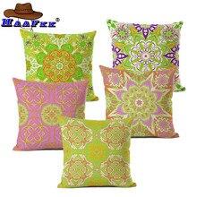 Funda de cojín de lino y algodón con estampado de flores Vintage, funda de almohada estándar para hombres y mujeres, sofá decorativo para el hogar, sillón de dormitorio