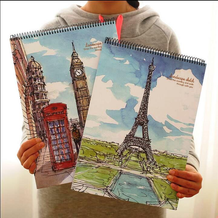 Go Travel Big Sketchbook Drawing Notepad Blank White Papers Study School Working Notebook go travel travel accessories 332 dg