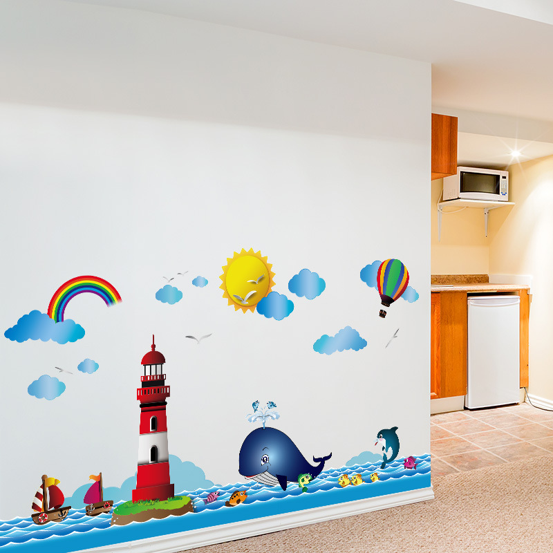 Cartoon Lighthouse Whale Wall Sticker For Kids Children's Room Background Home Decoration Mural Art Decals Wallpaper Stickers